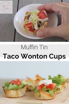 Mini tacos made with wonton wrappers in a muffin tin for the perfect bite sized taco! Wonton Appetizers, Wonton Recipes, Appetizer Recipes, Mexican Food Recipes, Healthy Recipes, Recipes With Wonton Wrappers, Italian Appetizers, Wonton Taco Cups, Wonton Tacos