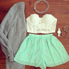 White bustier with tiffany blue skirt.