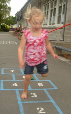 Hopscotch is a great way for kids to stay occupied, and they're also getting exercise. It's easy to play and you can even make it on your own.