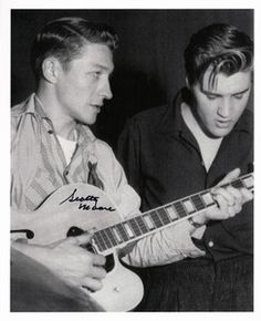 Scotty Moore - Scotty Moore Memphis- and then Nashville-based guitarist, engineer, and principal of the Fernwood and Belle Meade labels and Music City Recorders studio (l; nè Winfield Scott Moore) with Elvis Presley (r) Elvis Presley, Rock And Roll, 50s Music, Rockabilly Music, Scotty Moore, Milton Berle, Young Elvis, Star Wars, Graceland