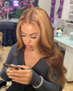 Honey Brown Hair, Honey Blonde Hair, Blonde Hair Black Girls, Hair Color For Black Hair, Brown Hair With Blonde Highlights, Hair Highlights, Blonde Lace Front Wigs, Human Hair Wigs, Lace Wigs