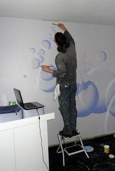 Chambre ado au design d co sympa et original design for Peinture murale chambre enfant