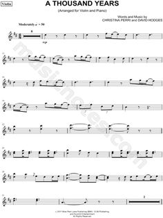 Print and download A Thousand Years - Violin sheet music by Christina Perri arranged for Violin. Instrumental Part, and Instrumental Solo in D Major (transposable).