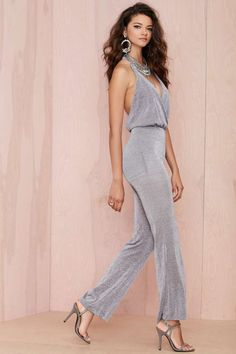 Delirium Metallic Halter Jumpsuit - Rompers + Jumpsuits |  | Rompers + Jumpsuits