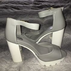 Got too have the chunk heel NWT PU gray leather with ankle strap perfect condition Charlotte Russe Shoes Platforms