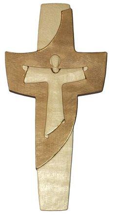 Auferstehungskreuz Holz, geschnitzt gebeizt