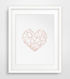 Pink Heart Geometric Poster Geometric Heart por MelindaWoodDesigns