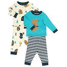 Buy John Lewis Baby Bear Theme Pyjamas, Pack of 2, Blue/Multi Online at johnlewis.com