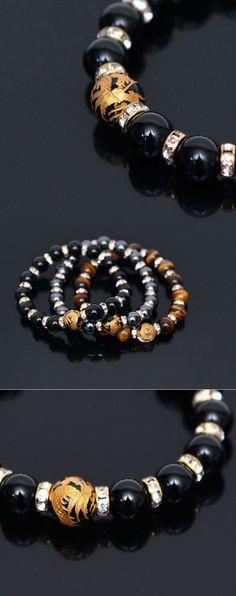 Mens Gold Dragon Jewel Gemstone Beads-Bracelet 315 by Guylook.com