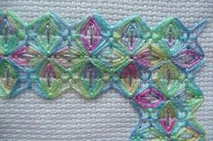 Mary Joan Stitching: Wessex stitchery up close, using multicolored threads Hand Embroidery Stitches, Silk Ribbon Embroidery, Embroidery Patterns, Knitting Patterns, Swedish Weaving, Cross Stitch Finishing, Brazilian Embroidery, Fabric Art, Needlepoint