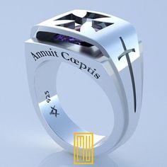 Cavalieri Templari Ring Design unico per uomo K 925 argento