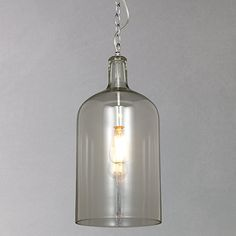 Buy John Lewis Croft Collection William Bottle Glass Pendant from our Ceiling Lighting range at John Lewis. Glass Pendant Light, Rustic Track Lighting, Bedroom Lighting, Ceiling Lights Diy, Industrial Pendant Lighting Glass, Rustic Pendant Lighting, Glass Pendants, Led Rope Lights, Pendant Lighting Bedroom