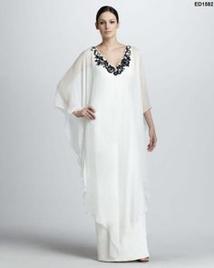 White Woman Fashion Long Caftan Indian Designer by Ethnicdresses