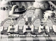 The Tetley Tea Folk are animated characters used to advertise Tetley Tea from 1973 to and from 2010 to present. English Tea Time, Tetley Tea, How To Make Tea, Afternoon Tea, Bag Making, Childhood Memories, Growing Up, Tea Pots, Mickey Mouse