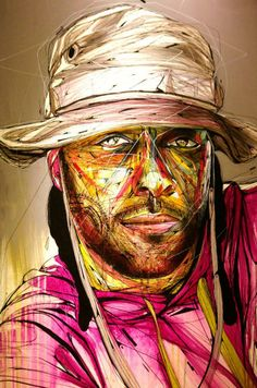 Hopare is a Franch urban artist whose graffiti of faces and human figures come together in an explosion of color and details. Graffiti Murals, Street Art Graffiti, Mural Art, Expo Paris, Paris 14, Portrait Art, Portraits, Art Expo, Amazing Street Art