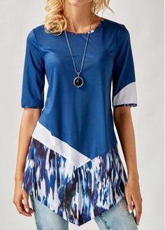 Asymmetric Hem Half Sleeve Printed Blouse check it out. Praise Dance Wear, Dress Paterns, Womens Trendy Tops, Half Sleeves, Short Sleeves, Couture Tops, Blouse Styles, Matching Outfits, Beautiful Outfits