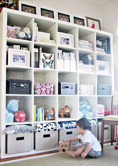 Cute Expedit Storage Cube Shelves, Ikea Shelves, Playroom Storage, Nursery Storage, Ikea Storage, Laundry Room Storage, Storage Room, Playroom Ideas, Kids Furniture