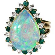 SALE 5.84ctw Natural Black Opal Emerald Diamond Ring 18k Gold Opal Emerald Diamond Ring