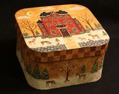 Winter Folk Art Original Hand Painted Primitive by Ravensbend, $25.00