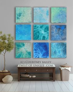 HUGE Abstract art, CUSTOM 9 square Abstract Wall Art, Large abstract painting,  -Green, Blue, Sky blue, Turquoise,