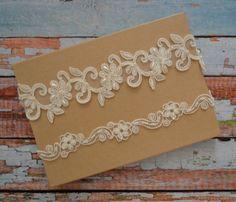 Ivory Lace Wedding Garter, Ivory Beaded Lace Bridal Garter Set, Unique Ivory…
