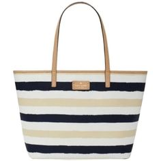 Pre-owned Kate Spade Bondi Road Medium Harmony Navy And Cream Tote Bag ($199) ❤ liked on Polyvore featuring bags, handbags, tote bags, navy and cream, zippered tote bag, kate spade tote bags, navy tote bag, kate spade purses and tote shoulder bag