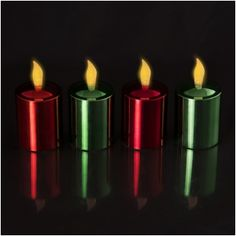 """Set of 4 Long Life Metallic Finish (Two Red, Two Green) Flickering Amber Votive Size LED Candles With Electronic Timers; """"They Stay Lit For 4 Months On One Set of Batteries! Party Lights, Tea Lights, Amber Led Lights, Votive Candles, String Lights, Pearl White, Christmas Lights, Red Green, 4 Months"""
