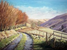 ''Doethie Valley from Ty'n cornel - Cambrian mountains'' Oil on canvas 16'' by 12''    http://www.jitter.org.uk/users/chris-chalk-art#