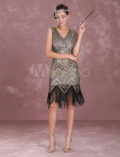 9151fd5dcb87 Vestito da Flapper Anni  20 2019 Great Gatsby Costume Vintage da Donna  Abito di Nappine di Paillettes Albicocca Halloween