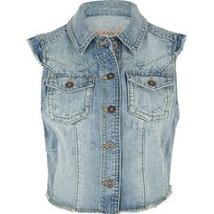 River Island Light denim raw edge waistcoat ($19) ❤ liked on Polyvore featuring outerwear, vests, jackets, vest, tops, coats, river island, blue waistcoat, denim vest and denim waistcoat
