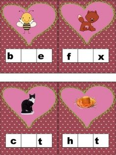 Valentine rhyming words match and spell for kinder and first freebie