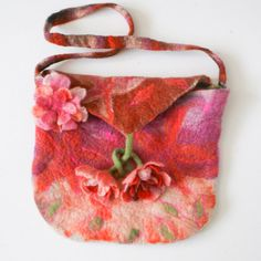 Orange Pink Felted Bag Purse with Felted Flowers ★by FrouFrouFelt