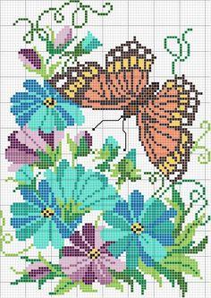 butterfly flowers cross stitch