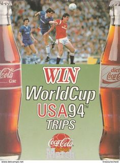 1994 WORLD CUP USA SOCCER RESTAURANT COCA COLA ADVERTISING DISPLAY TABLE TOPPER
