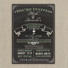 Engagement party Invitation  Chalkboard Style by ElleOL on Etsy