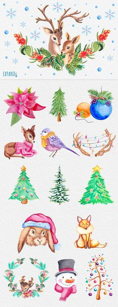 Christmas and Winter elements by Elena Neculae on @creativemarket