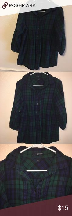 Plaid Blouse Green and Navy Flannel Blouse - beautiful detailing, 3/4 sleeve, fitted around chest, flared empire waist. 😍 Cozy and cute! Gap size L. GAP Tops Blouses
