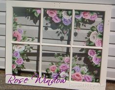 Hand painted vintage window with roses