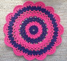 Giant crocheted doily rug pink and purple stripes