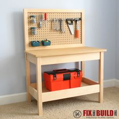 This Kids Workbench is perfect for your little future woodworkers and DIYers.  It is a fully functional workbench that can be put the in shop to let your little tikes build along with you.  Or set it up inside for the ultimate play workbench!