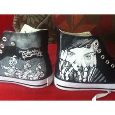 My Chemical Romance Black Parade, Three Cheers Hand Painted High Tops ($78) ❤ liked on Polyvore featuring shoes