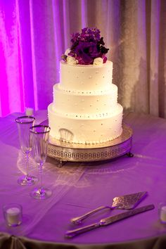 Three layers white wedding cake