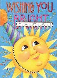 Mary Engelbreit Wishing You A Bright Birthday Sun Party Hat Birthday Card New   eBay