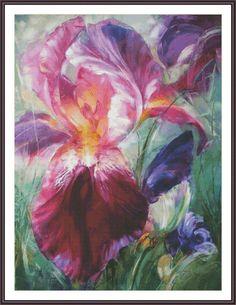 Iris Cross Stitch Cross Stitch Pattern Flower Cross Stitch