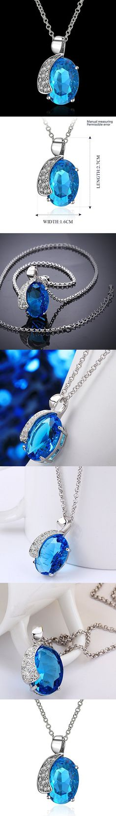 Lovav Party Prom Inlaid Blue Oval Crystal Moon Cubic Zirconia Platinum Plated Women's Pendants Necklace