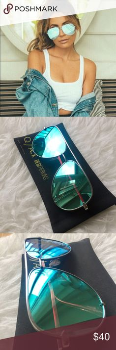 Quay x Desi High Key Sunglasses | Blue Cult classic high keys in collab with Desi Perkins in a versatile blue color. No scratches, in excellent condition. Comes with black case. Enjoy! Quay Australia Accessories Sunglasses