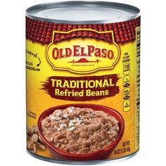 X2 ( ONE ON SIDE W FAJITAS & ONE IN BURRITOS) Old El Paso Refried Beans, Traditional - 16 oz   Google Shopping Gourmet Recipes, Mexican Food Recipes, New Recipes, Dog Food Recipes, Canning Refried Beans, Mexican Dishes, Mexican Meals, Tasty