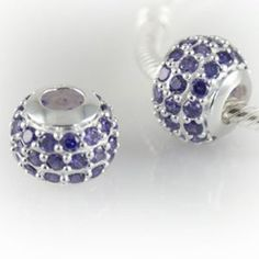 Beautiful Silver Charm Bead with Lavender Crystals - Genuine 925 Sterling Silver Core - fits most European bracelets including Pandora, Lovelinks, Biagi and Chamilia Charm Bead, Pandora Jewelry, Lavender, Core, Cufflinks, Fashion Jewelry, Bling, Sterling Silver, Beads