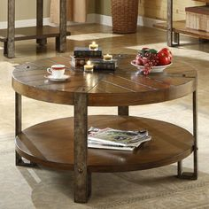 Riverside Furniture Sierra Round Cocktail Table in Distressed Landmark Worn Oak