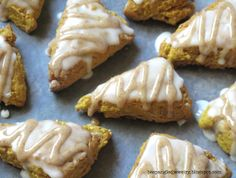 Recipe for Mini Glazed Pumpkin Scones, taste just like the ones at Starbucks!!! <3  #fall #baking #pumpkin #scones #recipe #starbucks